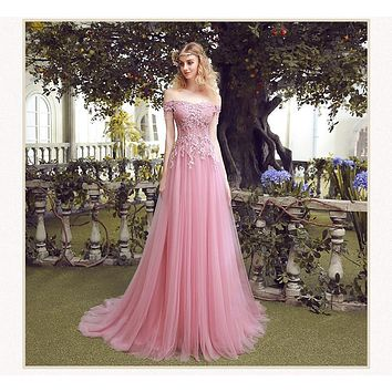 2017 Cheap New Sweet Pearl Pink Lace Embroidery Evening Dresses Bride Slim Sexy Sweep Train Long Prom Dress Custom Party Gown
