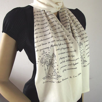 ANNA KARENINA Quote Scarf Handprinted Book Quote Scarf with Illustration IVORY Text Literary Scarf Book Lovers Gifts