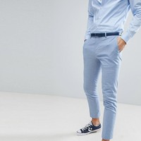 River Island Wedding Linen Suit Trousers In Light Blue at asos.com