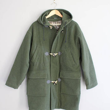 Green Duffle Coat Hooded Wool Parka Fisherman Jacket 90s Oversize Vintage  Size L - XL #O148A