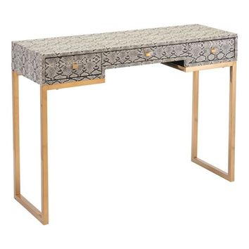 A11150 Lecce Snake Skin Console Table White