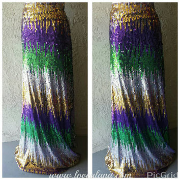 Green/Purple/Gold Maxi - Gorgeous high quality sequins- Long sequined skirt -Custom Length S, M, L, XL (Handmade in LA!) Mardi Gras colors