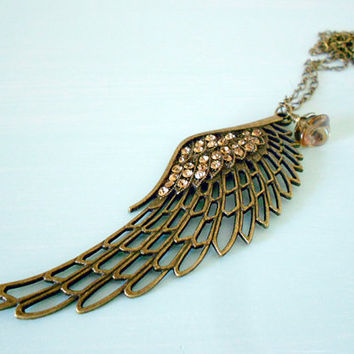 A SHINY ANGEL Vintage Inspired Angel Wing Necklace in Antique Brass with Amber Crystal Chatons & Czech Glass Flower from the Vintage Garden