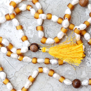 Boho knotted long necklace Gold tassel necklace Yellow glass Bohemian mala beads Unique ethnic jewelry Modern pearl necklace Saffron prayer