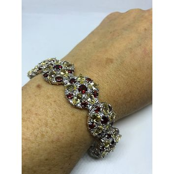 Vintage Handmade Genuine Red Garnet and Citrine Sterling Silver Tennis Bracelet