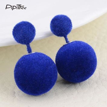 2017 NEW Fashion Luxury Brand Women Earrings Winter Sweet Candy Color Fur Ball Two Sided Simulated Pearl Earrings Female Jewelry