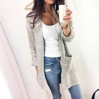 Loose Solid color sweater cardigan