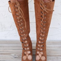Downtowner Tan Lace Up Knee High Boots