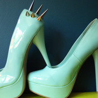 Spiked Angel Blue High Heel Shoes (Size 7)
