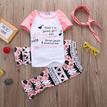 Girl Clothes Set T-shirt + Pants Short Sleeve Outfits