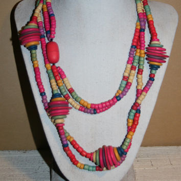 Colorful Wood Bead Necklace Tribal Jewelry African Necklace African Jewelry Tribal Necklace Chunky Statement Necklace Wood Jewelry Womens