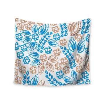 """Maria Bazarova """"Blue White Flowers"""" Abstract Beige Wall Tapestry"""