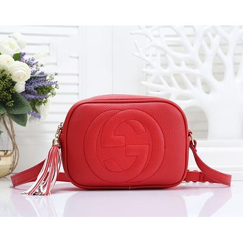 GUCCI Fashion New Leather Shoulder Bag Crossbody Bag Leisure Women Red