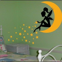 Whimsy FAIRY with WAND & Blowing Stars vinyl Wall Decals Stickers Art | TouchofVinyl - Housewares on ArtFire
