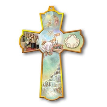WALL CROSS, PATRON SAINT CROSS BAPTISM CHRISTENING