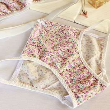 floral woven fabric panties, brocante pink hollow out hipster, cotton panties