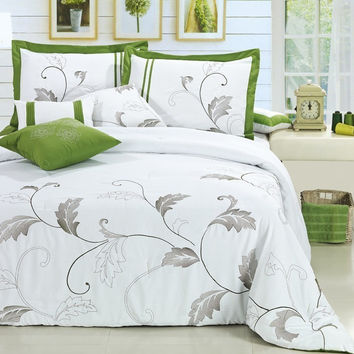 12pc FLG. Green/White Luxury Size: Queen Sheet Set Color: Navy