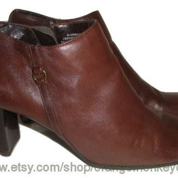 vintage BANDOLINO Brown leather ankle boots chelsea side zip hipster indie boho women size 6 us 36