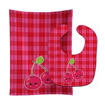Cherry Faces Baby Bib & Burp Cloth BB6985STBU