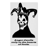 jester clown skeleton goth anger quote art poster