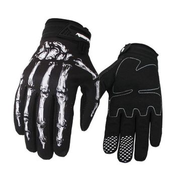 Unisex Motorcycle Cycling Gloves Skull Skeleton Goth Racing Full Finger