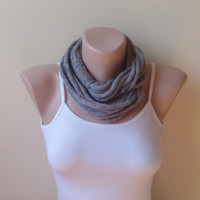 Free ship alpaca gray  infinity scarf chain scarf circle scarf loop scarf cozy scarf woman accessory gift