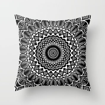 Detailed Black and White Mandala Throw Pillow by AEJ Design
