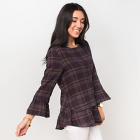 Rockford Plaid & Ruffles Top - Plum | Called To Surf