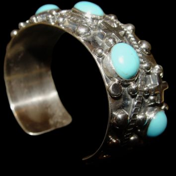 One of a Kind Navajo Sterling Silver with Blue Turquoise Bracelet