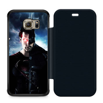 Superman Batman Half Leather Wallet Flip Case Samsung Galaxy S6 Edge