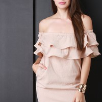 Tiered Ruffle Off The Shoulder Mini Dress