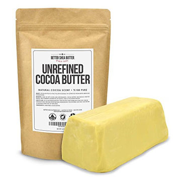 Organic Cocoa Butter by Better Shea Butter - Best Rated Ingredient for DIY Skin Care Recipes - Use on Dry, Cracked, Damaged Skin - Improves the Appearance of Stretch Marks - 1 LB (16 oz)