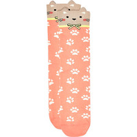 River Island Womens Coral cat print ankle socks