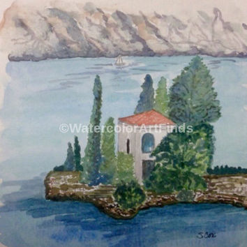 Original Landscape, Mountain Landscape Painting, Watercolor Ocean, Watercolor painting, Travel Art, Europe painting, Island Villa