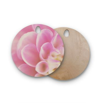 """Laura Evans """"Up Close & Personal"""" Pink Floral Round Wooden Cutting Board"""