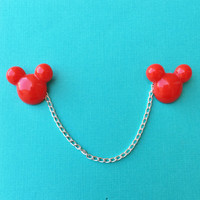"""Handmade """"Red Mouse Head"""" Red Mickey Inspired Collar Clips or Sweater Guard with Silver Chain"""