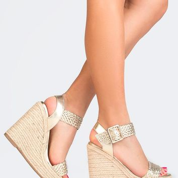 Braided Strap Straw Wedges