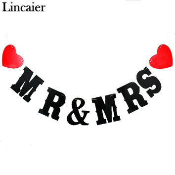 Lincaier Groom and Bride Paper Just Married Wedding Banner Garland Bunting Events Party Decoration Supplies Red Love Heart