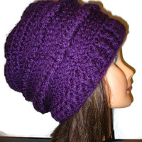 Chunky purple crochet beanie with green and blue buttons