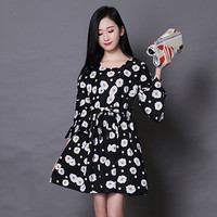 Plus Size Women's Fashion Vintage Print Cotton Three-quarter Sleeve One Piece Dress [4918717316]