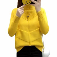 Women Pullover Sweater Solid Color Half Turtleneck Loose Brief Warm Female Knitted Jumper Sweater Tops Autumn Winter Clothes 367