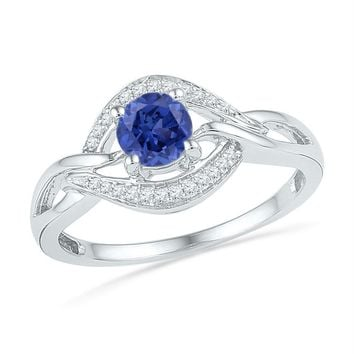 Sterling Silver Women's Round Lab-Created Blue Sapphire Solitaire Diamond Ring 5/8 Cttw - FREE Shipping (US/CAN)