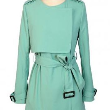 Fly Away Layered Storm Flap Fitted Trench Coat in Mint Green | Sincerely Sweet Boutique