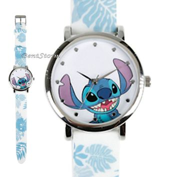 Licensed cool Disney Lilo And Stitch Floral Rubber Band Strap Watch New In Collectors Gift Tin
