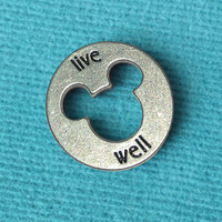 """Disney Pewter """"Live Well"""" Token Coin - """"Pieces of Magic"""" with Mickey Head Cutout"""