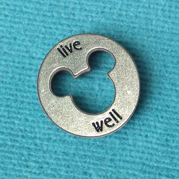 "Disney Pewter ""Live Well"" Token Coin - ""Pieces of Magic"" with Mickey Head Cutout"