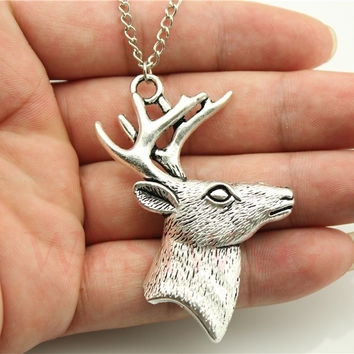 WYSIWYG 2 colors antique bronze antique silver tone deer Antlers pendant necklace 70cm chain long necklace