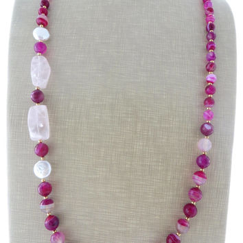 Hot pink agate necklace with quartz, long stone necklace, freshwater pearl necklace, beaded necklace, uk jewellery, wedding jewels, gioielli
