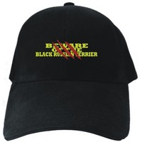 BEWARE OF THE Black Russian Terrier Black Baseball Cap Unisex