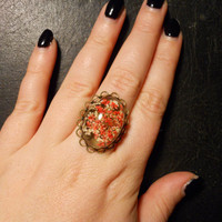 REAL Red Pressed Queen Annes Lace Cameo Style Preserved Specimen Ring